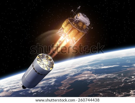 Spacecraft Launch Into Space. 3D Scene. Elements of this image furnished by NASA.  - stock photo