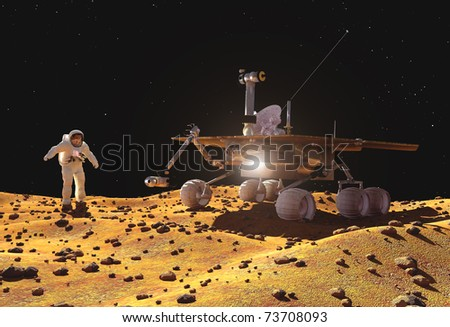 Spacecraft on the background of the planet. - stock photo