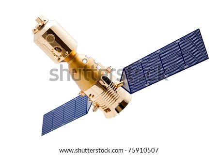 Spacecraft on white background with a good clipping path - stock photo