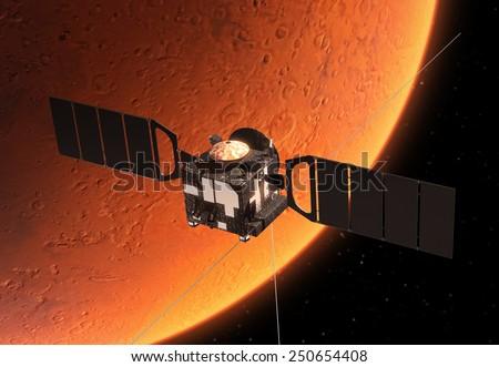 Spacecraft Orbiting Red Planet. 3D Scene. - stock photo