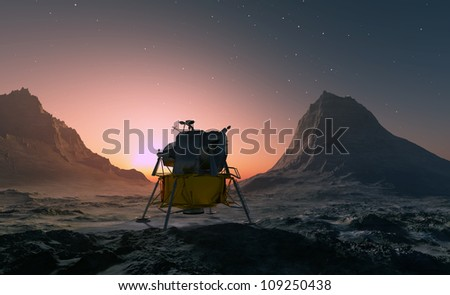 Spacecraft over the mountainous terrain of the planet. - stock photo