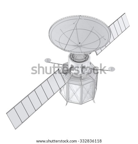 Spacecraft with solar panels. Isolated on white