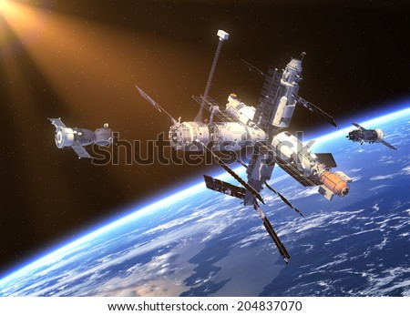 Spacecrafts And Space Station. 3D Scene. Elements of this image furnished by NASA.  - stock photo