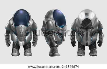 Spaceman illustration. Isolated spaceman in grey armored suit character standing in different angles illustration art. - stock photo
