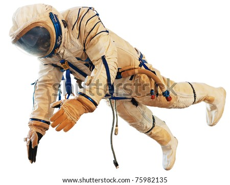 Spaceman isolated on white. Clipping path included. - stock photo
