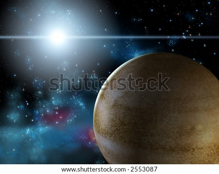 Spacescape with a desert planet and a bright star. Digital illustration. - stock photo