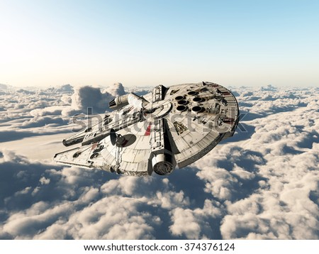 Spaceship above the clouds Computer generated 3D illustration - stock photo