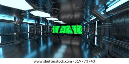 Spaceship blue interior with window view with green background 3D rendering elements of this image furnished by NASA