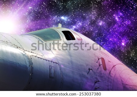 Spaceship concept for futuristic interstellar deep space travel for sci-fi backgrounds. - stock photo