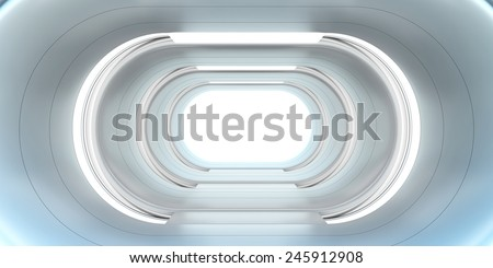 Spaceship corridor  - stock photo