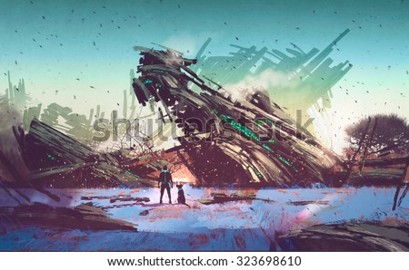 spaceship crashed on blue field,illustration painting - stock photo