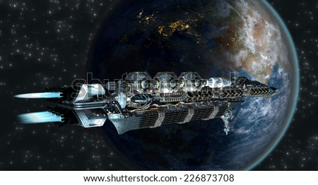 Spaceship fleet arriving to Earth as a 3D concept for futuristic interstellar deep space travel for sci-fi backgrounds. Elements of this image furnished by NASA.  - stock photo