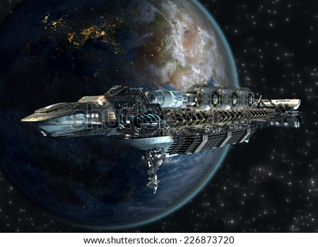 Spaceship fleet leaving Earth as a 3D concept for futuristic interstellar deep space travel for science-fiction backgrounds. Elements of this image furnished by NASA. - stock photo