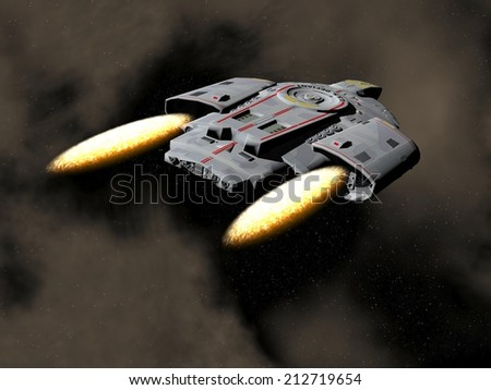 Spaceship flying in the universe - 3D render - stock photo