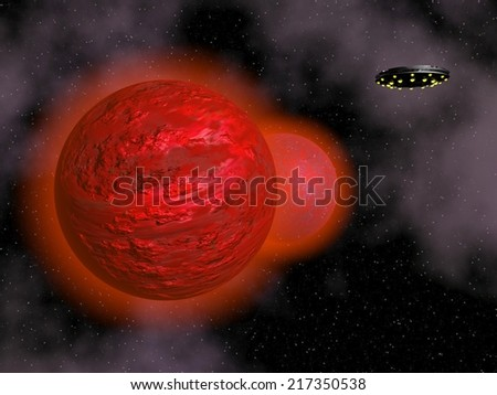 Spaceship flying next to red planets in the universe - 3D render - stock photo