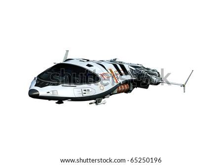 spaceship flying on white background - stock photo