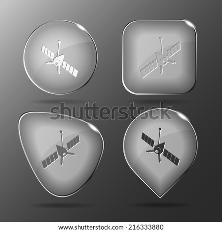 Spaceship. Glass buttons. Raster illustration. - stock photo
