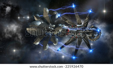 Spaceship in interstellar travel initiating a warp drive, on a galactic starfield for alien fantasy games or science fiction deep space travel backgrounds