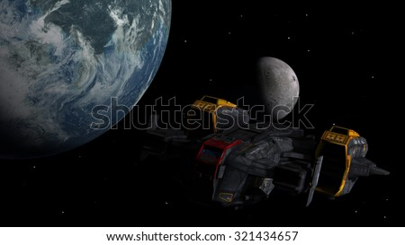 Spaceship in the deep space as a 3D concept for futuristic interstellar deep space travel for science-fiction backgrounds