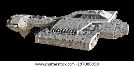 Spaceship on black - side view. Science fiction spaceship isolated on a black background, side view, 3d digitally rendered illustration - stock photo