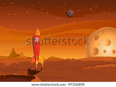 Spaceship On Martian Landscape/ Illustration of a cartoon spaceship landing on martian red desert landscape - stock photo