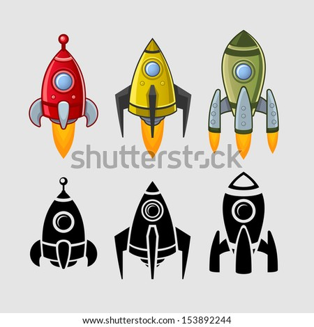 Spaceships set color and black - stock photo