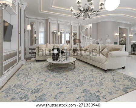 Spacious and luxury living room. 3d render - stock photo