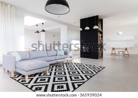 Spacious and tasteful living room in the house  - stock photo