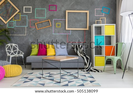 Spacious Apartment Grey Colorful Wall Decor Stock Photo 505138099 ...