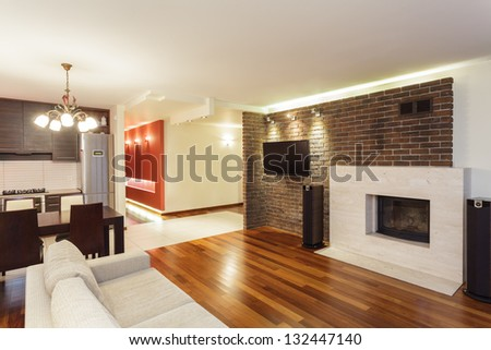Spacious apartment - interior of modern and spacious house - stock photo