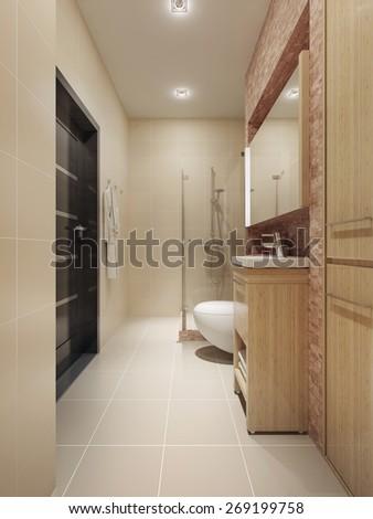 Spacious bathroom interior. 3d render - stock photo