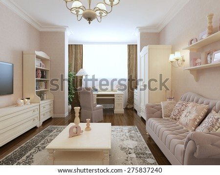 Spacious bedroom renaissance style. 3d render