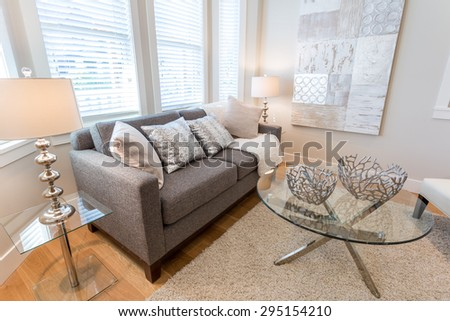 Spacious bright living room  with leather chairs. Interior design. - stock photo
