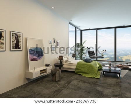 Spacious bright modern bedroom interior with large floor-to-ceiling panoramic windows, a double divan, artwork, cabinets and chairs in a fresh white and grey decor with green accent. 3D Rendering.  - stock photo