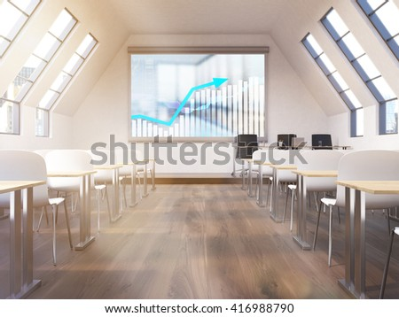 Spacious classroom interior with business chart on whiteboard. 3D Rendering