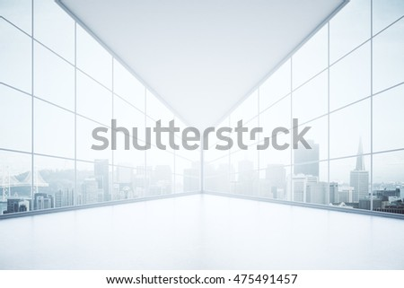 Spacious concrete interior with panoramic windows and city view on two sides. 3D Rendering