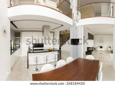 Spacious detached house interior in contemporary design - stock photo
