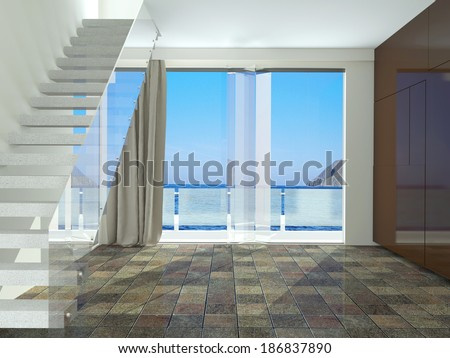 Spacious empty room with stairs, with a beautiful view of the sea. Interior design.