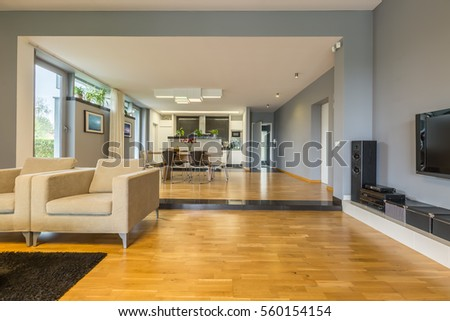 Living Room And Dining Room Combined modern living room staircase fireplace stock photo 114311074