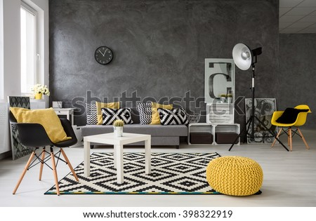 Spacious, Grey Living Room With Sofa, Chairs, Standing Lamp, Small Coffee