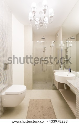 Spacious light bathroom with shower, toilet and basin - stock photo