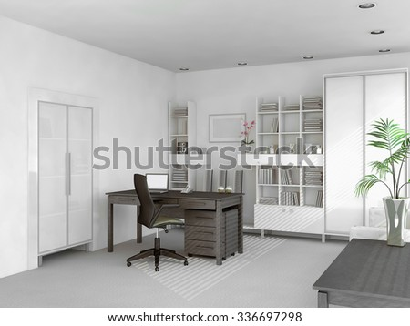 spacious light white private study, table with laptop and cabinets3D render