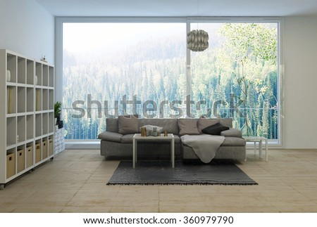 Spacious modern living room overlooking a forest with wall mounted cabinet, comfortable sofa and large view window. 3d rendering. - stock photo