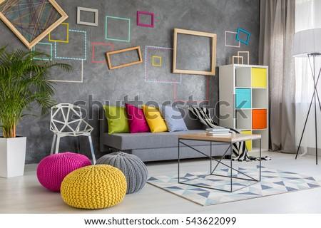 Spacious Modern Lounge Grey Sofa Colorful Stock Photo