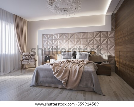 Spacious modern master bedroom with leather wall panels  3d render. Spacious Modern Master Bedroom Leather Wall Stock Illustration