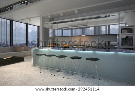 Spacious open plan kitchen interior with a long bar counter and stools for dining and built in cabinets and appliances overlooked by large view windows, illuminated in the evening. 3d Rendering. - stock photo