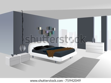 spacious room with city view - stock photo