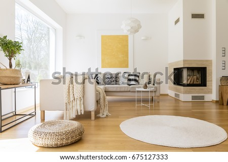 Spacious White Wooden Living Room Modern Stock Photo (Royalty Free ...