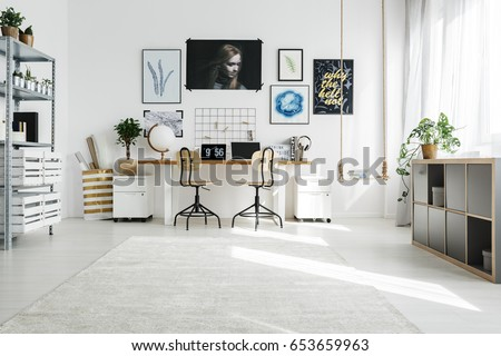 white home office. Spacious White Home Office Designed In Scandi Style