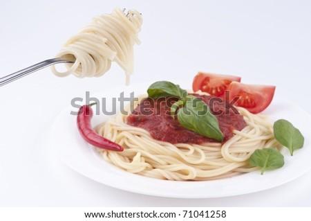 spagetti pasta on fork - stock photo